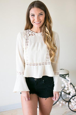 Simply Boho Bell Sleeve Top with Lace