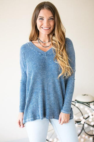 Comfy On the Weekend Open Back Top - Blue