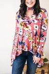 Tops Town Picnic Floral Choker Neck Tunic- Mauve - Lotus Boutique
