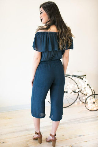 Afternoon on the Bay Navy Ruffle Jumpsuit