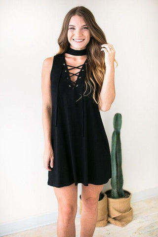 Striking Lace Up Black Dress