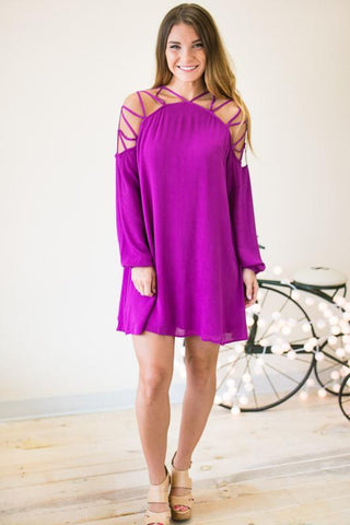 Revamp Your Style Strappy Shoulder Lined Dress- Purple