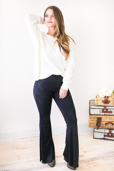 Flare Affair Suede Flare Pants-Bottoms-Lotus Boutique-Lotus Boutique