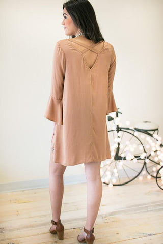 Hidden City Detailed Camel Dress