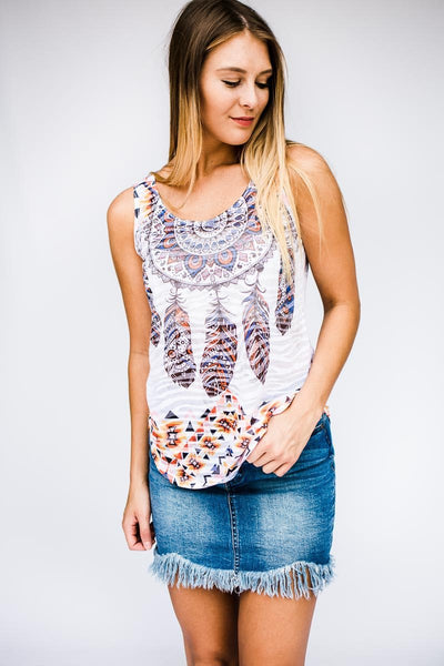Tops Catch My Vibes Dream Catcher Print Tank - Lotus Boutique