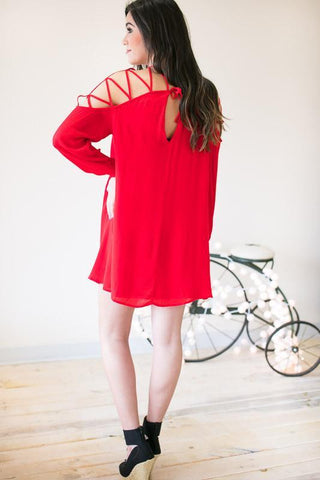Flash Backs Strappy Shoulder Red Dress