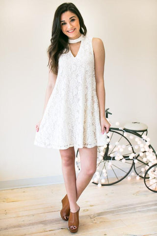 Sweet Little Lace Choker Neck Dress