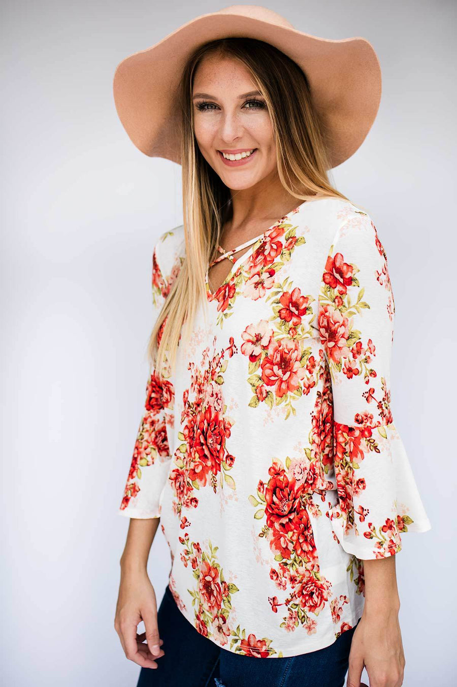 Cross Front Floral Top