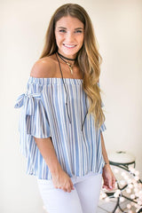 Beauty In The Details Off The Shoulder Top - Blue Striped