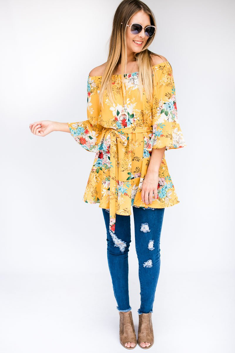 Tops Feeling Fresh OTS Floral Tunic - Lotus Boutique
