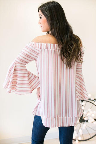 Take Flight Stripe Off the Shoulder Top