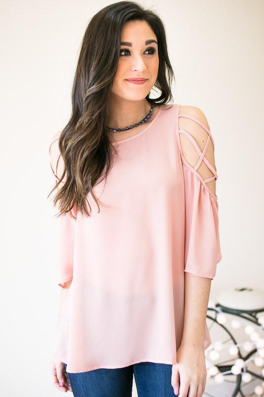 Stay Peachy Criss Cross Shoulder Top