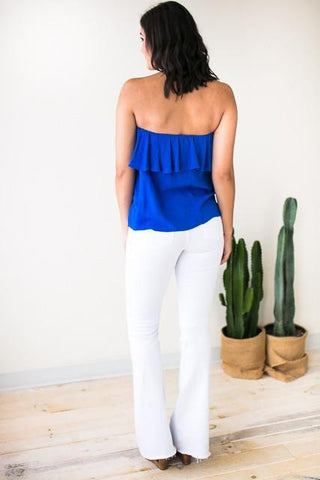 Final Song Ruffle Strapless Top
