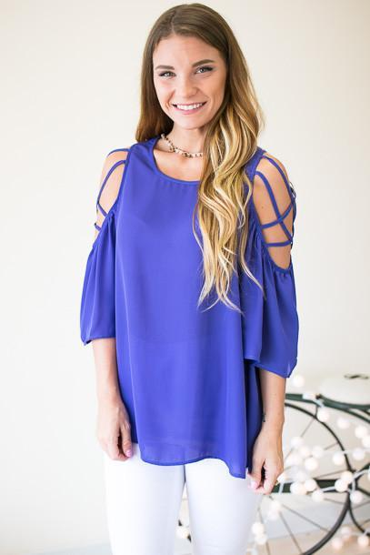 Saw It On Instagram Strappy Shoulder Top-Blue