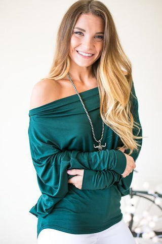 Stand Firm Green Off One Shoulder Top