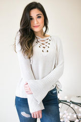 Always Been That Way Lace Up Sweater - Silver