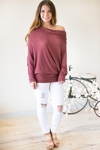 Take Your Time Berry Thermal Off Shoulder Top