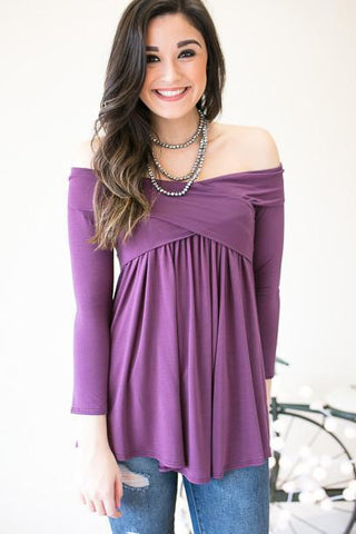 The Perfect Length Cross Front Top - Plum