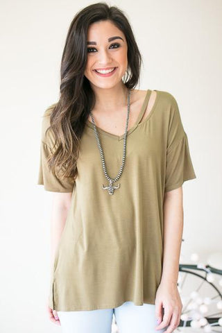 Cut It Out Basic Bamboo Top - Olive