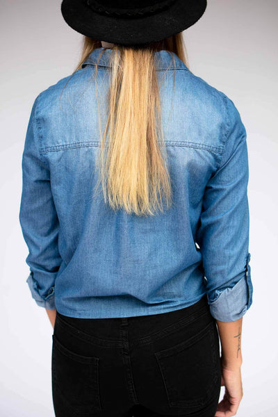 Tops All Is Fair Tie Front Chambray Top - Lotus Boutique