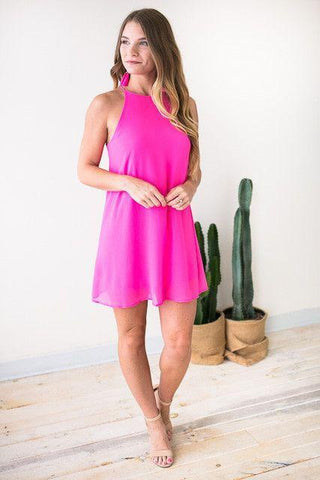Happens Like That Trap Neck Dress - Pink