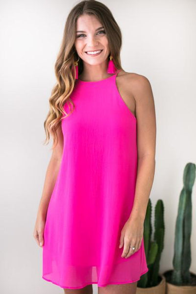 Dresses Happens Like That Trap Neck Dress - Pink - Lotus Boutique