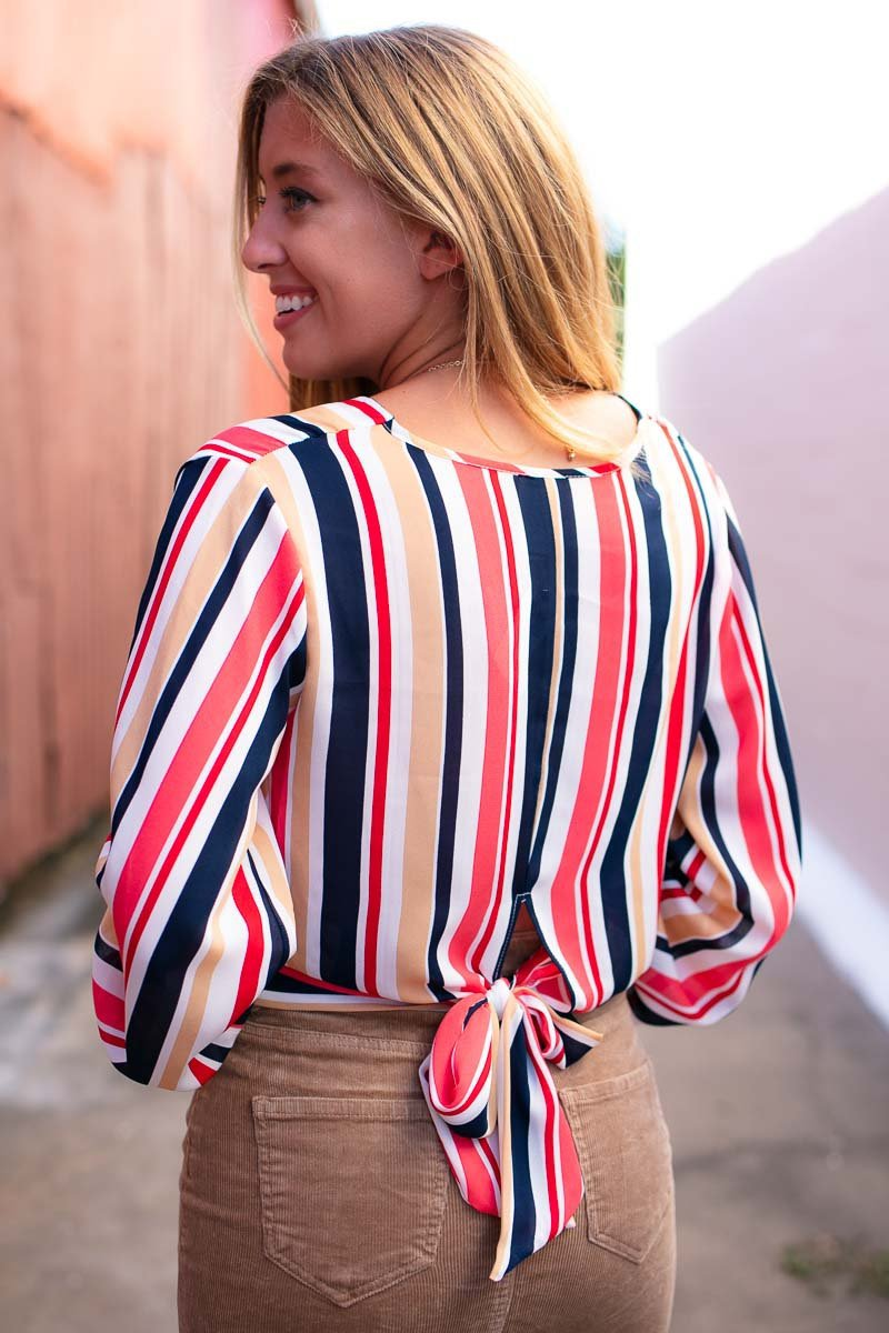Stripe Surplice Crop Top