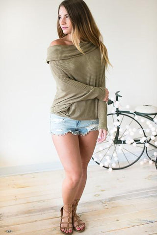 Take Your Time Olive Thermal Off Shoulder Top