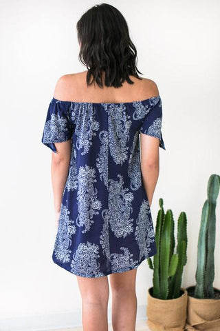 Rain Down Off Shoulder Print Dress