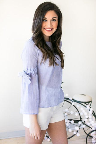 On the Boardwalk Tie Sleeve Light Weight Top