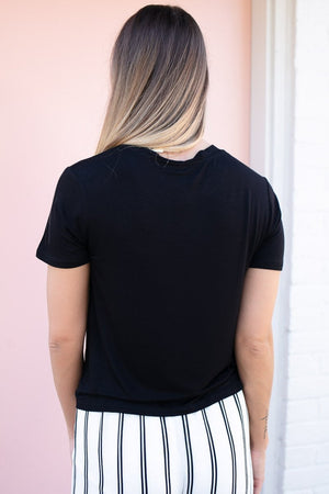 Not for the Boys Black Crew Neck Crop Top