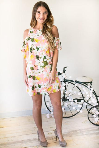 Tropical Vibes Cold Shoulder Floral Dress