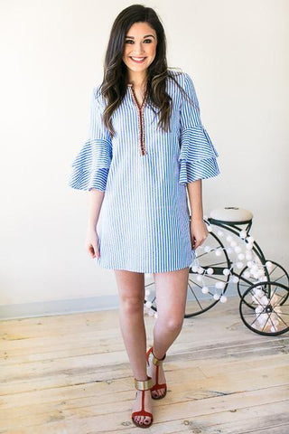 Feel Alive Seersucker Bell Sleeve Dress
