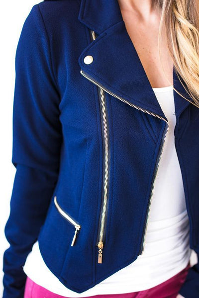 Soft Intensity Double Zip Motto Jacket- Navy-Jacket-Lotus Boutique-Lotus Boutique