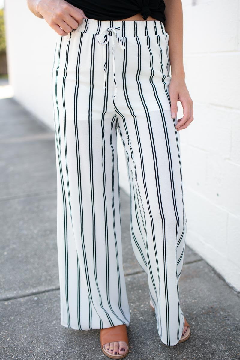 Bottoms Written in the Stars Stripe Ivory Pants - Lotus Boutique