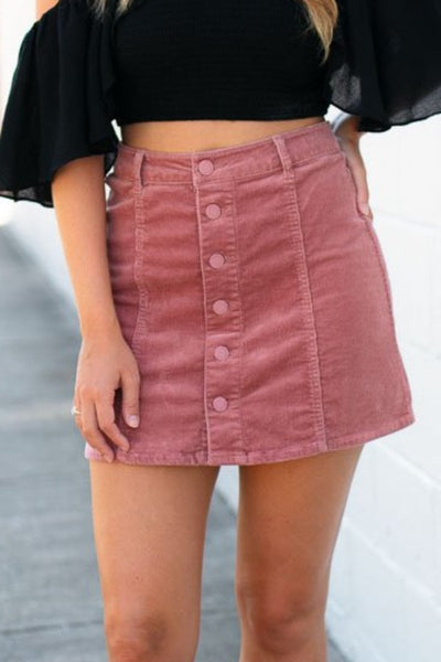Bottoms Soul Searching Button Up Corduroy Mini Skirt - Lotus Boutique