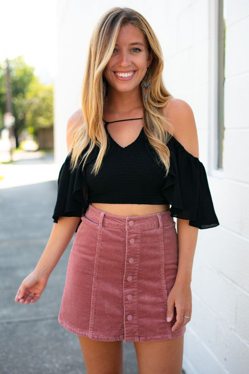 Mauve Button Up Corduroy Skirt