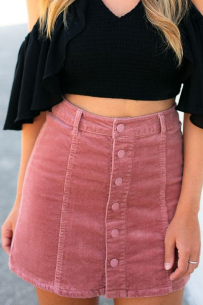 Button Up Corduroy Mauve Skirt