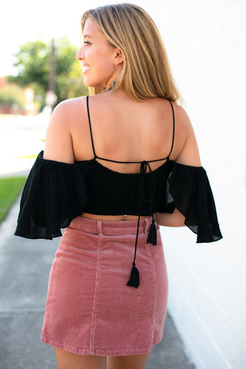 Tops Hold Lightly OTS Smock Crop Top - Lotus Boutique