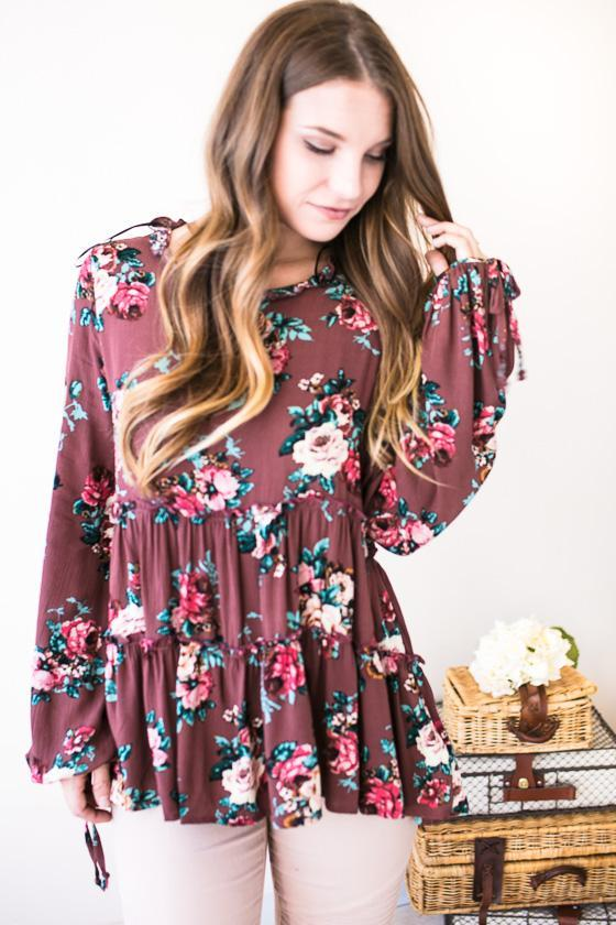 Mollie Floral Top-Tops-Lotus Boutique-Lotus Boutique
