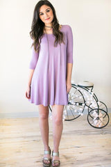 Lilac Kisses Tee Shirt Dress with Pockets