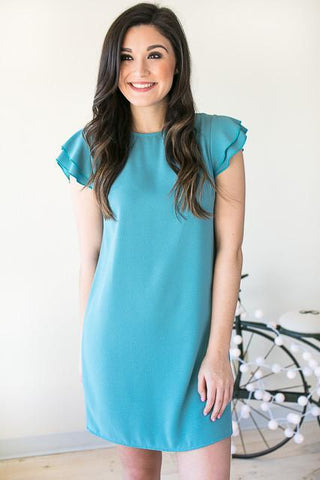 I'm Like A Bird Flutter Sleeve Dress - Blue