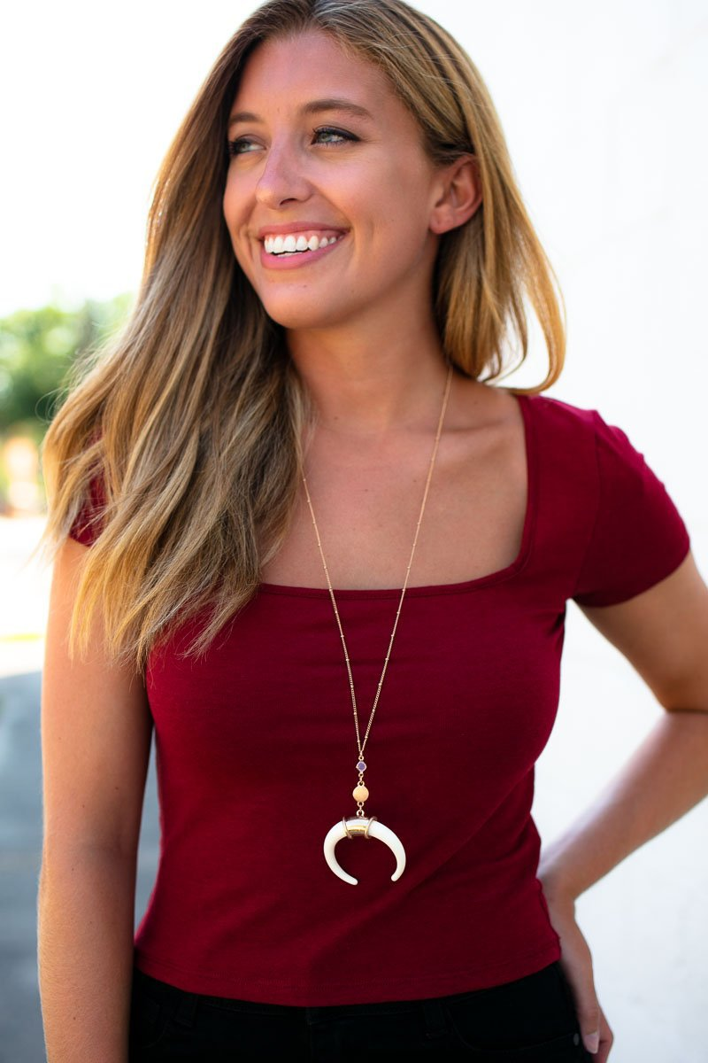 Square Neck Burgundy Crop Top