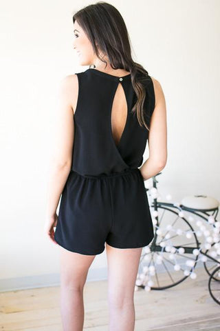 Follow My Lead Lace Up Romper - Black