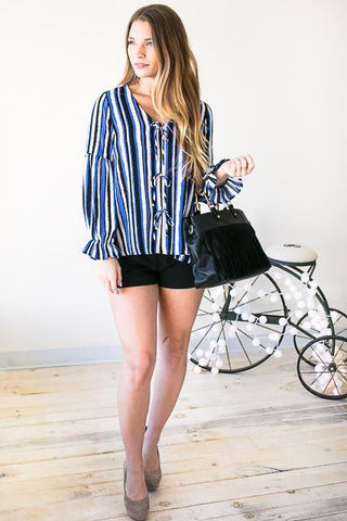 Three of a Kind Stripe Top with Bows