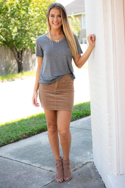 Tops Better Now Lightweight Grey Pocket Tee - Lotus Boutique