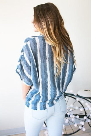 Shades Of Blue Choker Neck Stripe Top