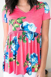 Back to Babydoll Coral Pink Floral Top-Tops-Lotus Boutique-[Affordable Online Boutiques]-[boutique]-Lotus Boutique