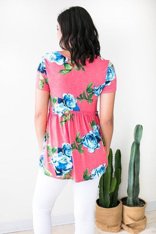 Back to Babydoll Coral Pink Floral Top