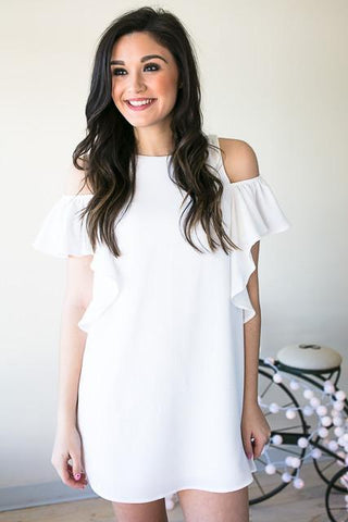 Shape of You Ruffle Cold Shoulder White Dress